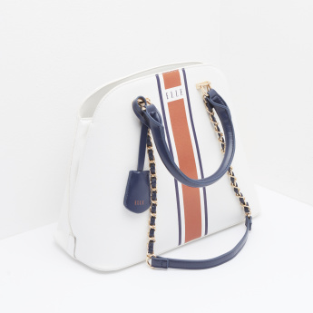 ELLE Striped Tote Bag with Zip Closure