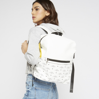 Lee Cooper Printed Backpack with Adjustable Shoulder Straps