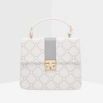 ELLE Printed Satchel Bag with Twist and Lock Closure