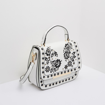 ELLE Monochrome Embroidered Saddle Bag