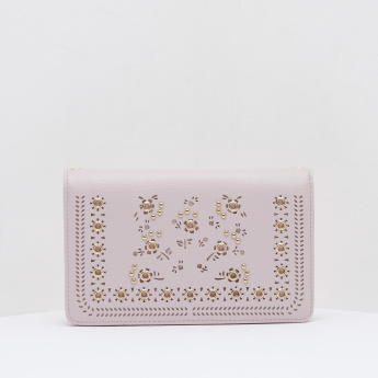 Celeste Cutwork Detail Sling Wallet with Snap Button Closure