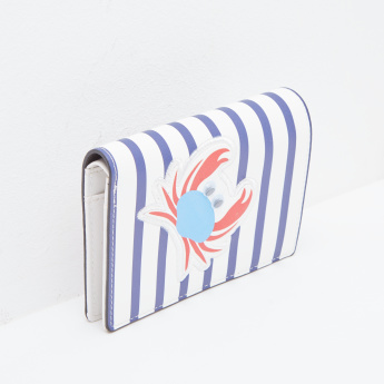 Missy Striped Wallet with Press Button Closure