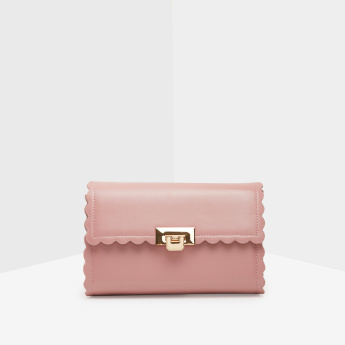 Celeste Satchel Bag with Scalloped Trims and Flip Lock Closure