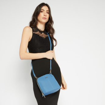 Celeste Textured Crossbody Bag with Zip Closure