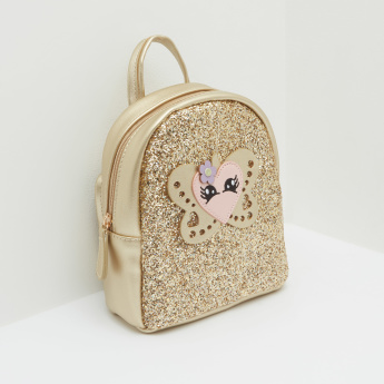 Textured Backpack with Glitter Detail and Applique