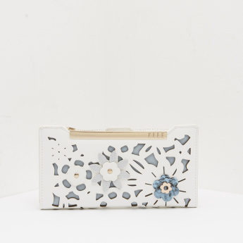 ELLE Wallet with Cut Work Design and Floral Accent