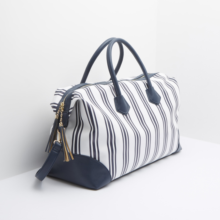 Celeste Striped Duffel Bag with Grab Handles