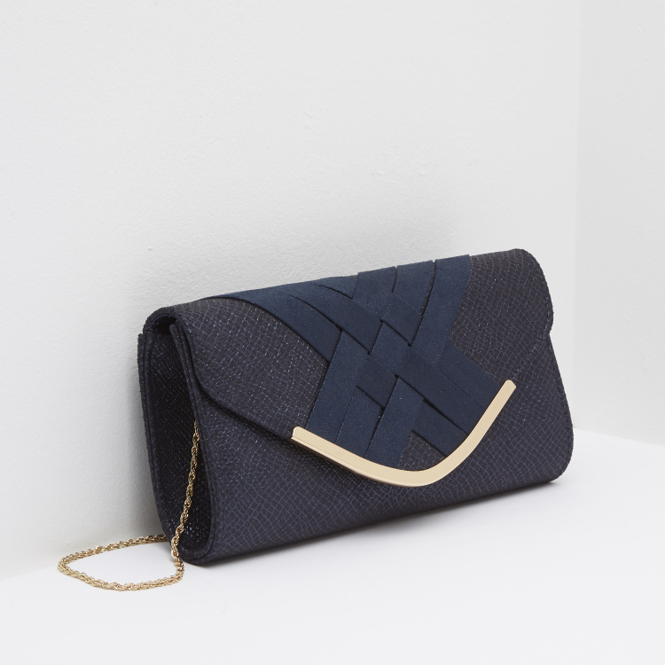 Celeste Criss-Cross Panelled Clutch with Snap Button Closure