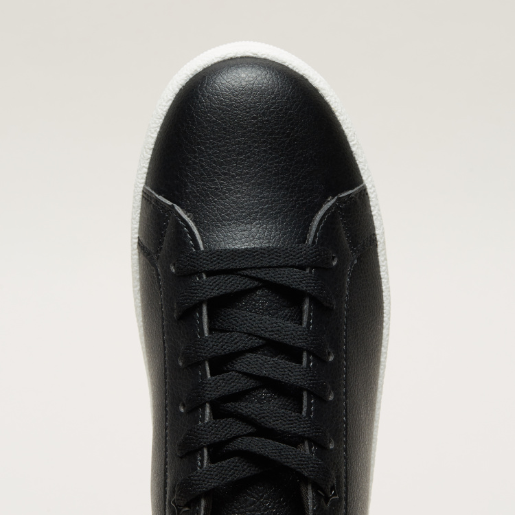 Textured Lace-Up Sneakers with Star Detail