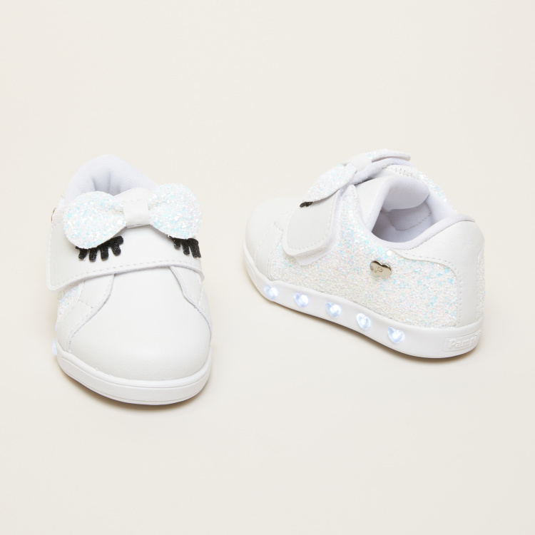 Pampili Glitter Sneakers with Bow Applique and Hook and Loop Closure