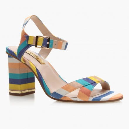 Paprika Striped Block Heel Sandals