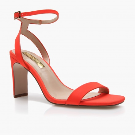 Paprika Buckled Heel Sandals