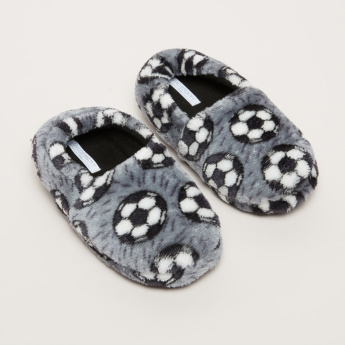 Football Printed Plush Bedroom Slip-On Shoes