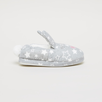 Printed Bedroom Shoes with Plush Lining and Appliques