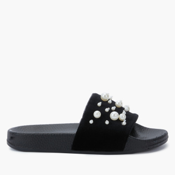 Little Missy Textured Slides with Pearl Detail