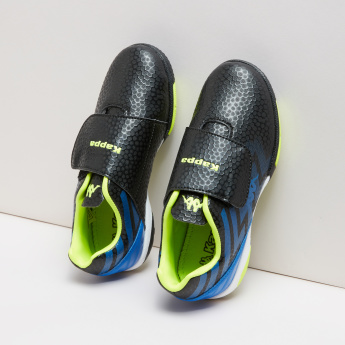 Kappa Boys' Textured Football Shoes with Hook and Loop Closure