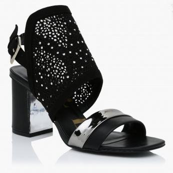 Elle Embellished Block Heel Sandals with Buckle Closure