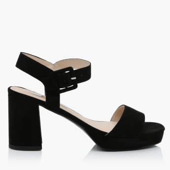 Paprika Block Heels Slip-On Shoes with Buckle Closure