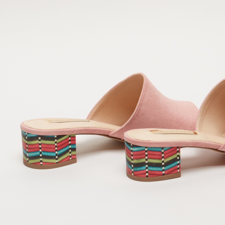 Paprika Slides with Printed Block Heels