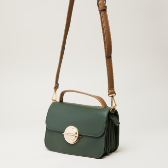 Elle Satchel Bag with Tuck Clasp and Adjustable Strap