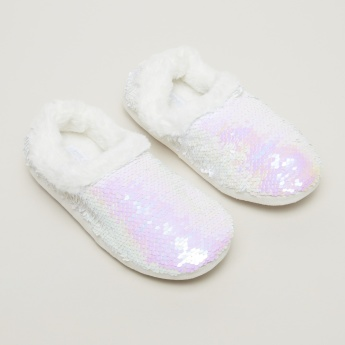 Plush Bedroom Slip-On Shoes with Sequin Detail