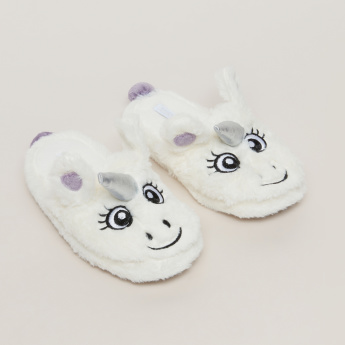 Plush Unicorn Bedroom Slides with Embroidery