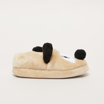 Plush Bedroom Slip-On Shoes with Patchwork Detail