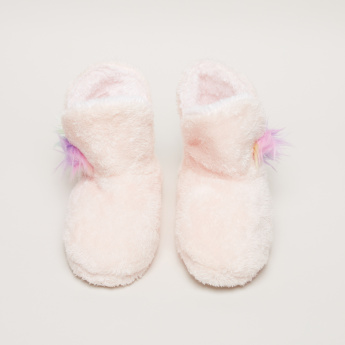 Plush Indoor Shoes with Applique Detail