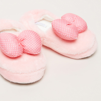 Plush Slip-On Shoes with Bow Detail