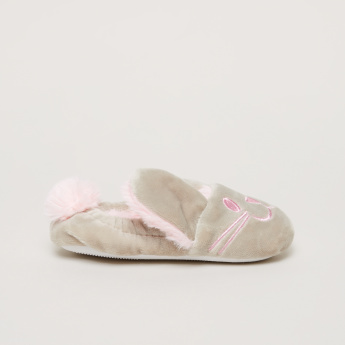 Plush Slip-On Shoes with Pom-Pom Detail