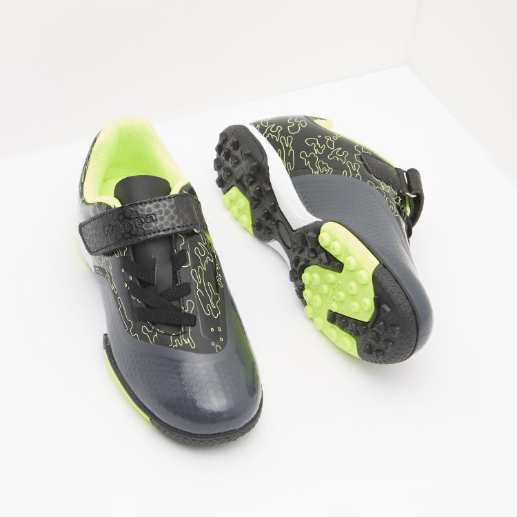 Kappa Boys' Printed Football Shoes with Hook and Loop Closure