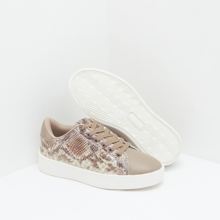 Lee Cooper Animal Print Low Top Lace Up Sneakers