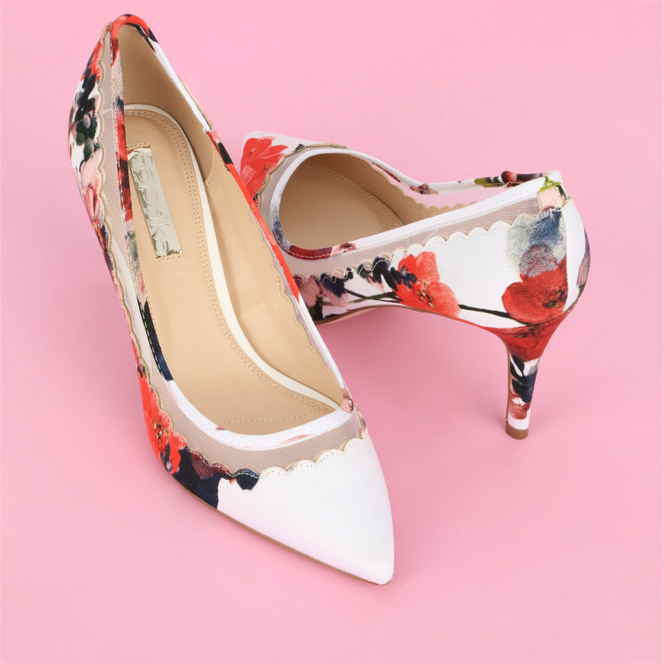 Paprika Printed High Heel Slip-On Shoes