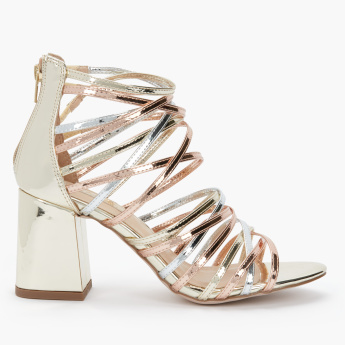 Celeste Block Heel Gladiators with Zip Closure