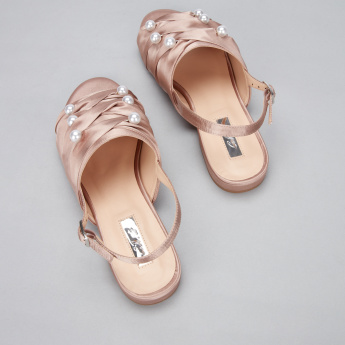 Celeste Pearl Detail Sling Back Sandals with Buckle Closure