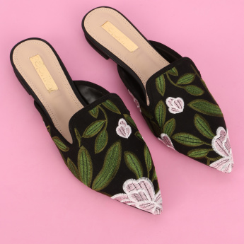 Paprika Embroidered Slides