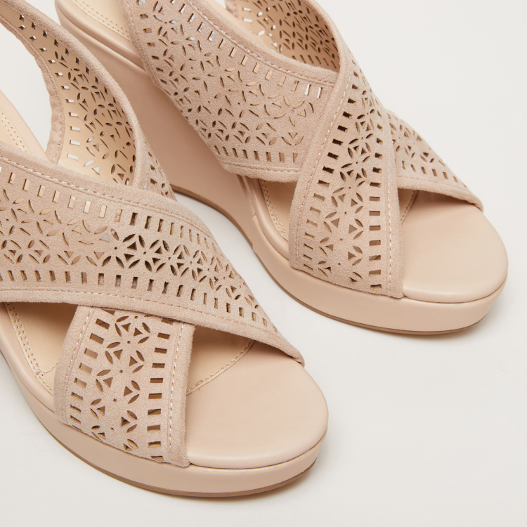 Laser Cut Detail High Heel Wedges with Crossed Straps