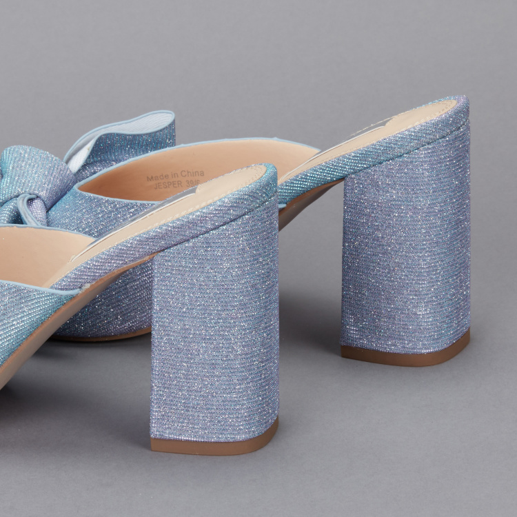 Celeste Textured Block Heel Slides with Bow Detail