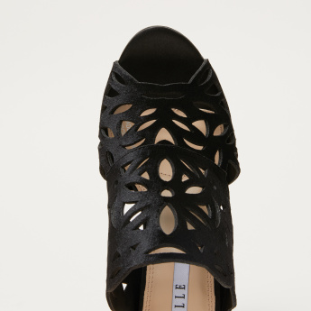 Elle Laser Cut Detail Peep Toe Stilettoes