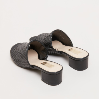 Weave Textured Slides with Block Heels