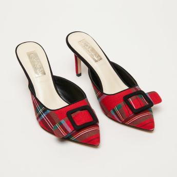 Chequered High Heel Slip-On Mules with Buckle Detail