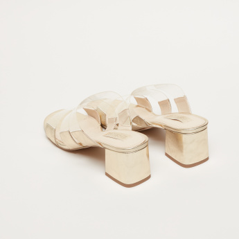 Multi-Strap Block Heel Slides