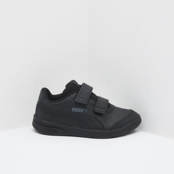 PUMA Textured Low Ankle Sneakers with Hook and Loop Closure
