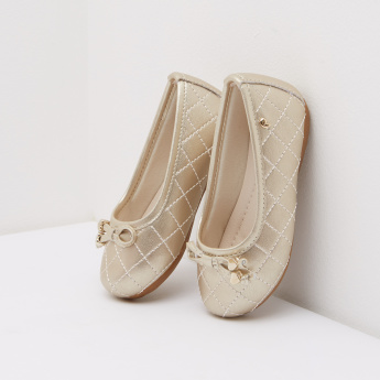 Pampili Quilted Ballerina Shoes with Bow Accent