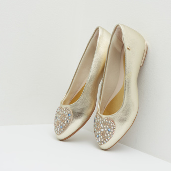 Pampili Studded Ballerinas with Metallic Finish