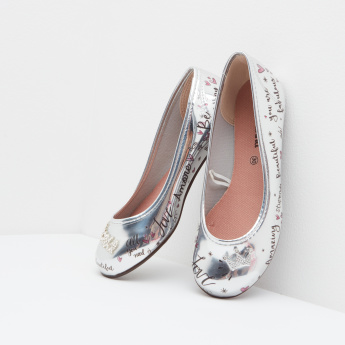 Molekinha Printed and Embellished Ballerina with Slip-On Closure