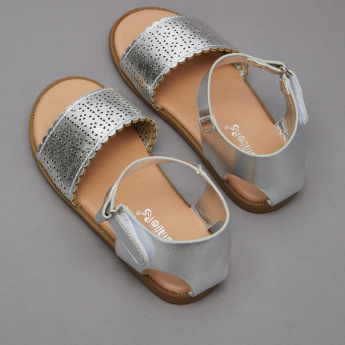 Juniors Laser Cut Sandals with Hook and Loop Closure