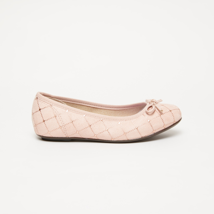 Molekinha Bebe Quilted Print Ballerinas with Bow Detail