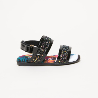Molekinha Glitter Detail Sandals with Hook and Loop Closure
