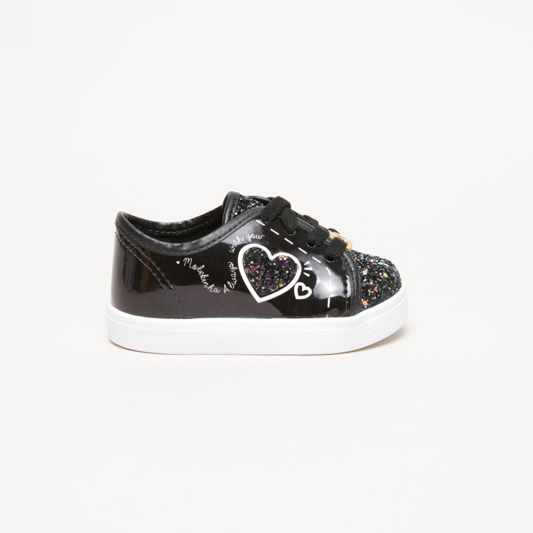 Molekinha Bebe Graphic Printed Sneakers with Glitter Detail